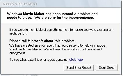 Movie Maker Error